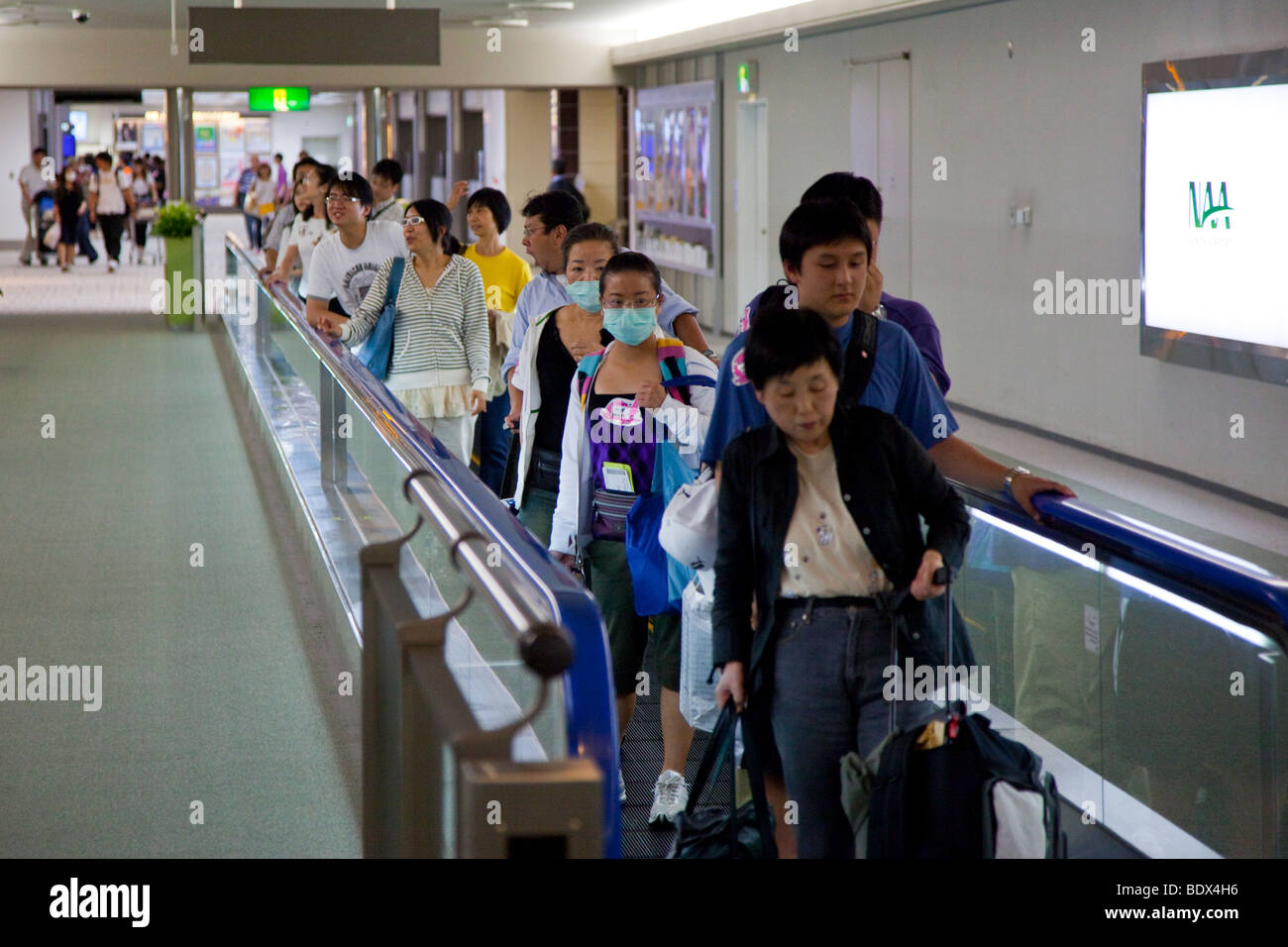 Worried about swine flu in NRT Narita Airport in Japan - Stock Image