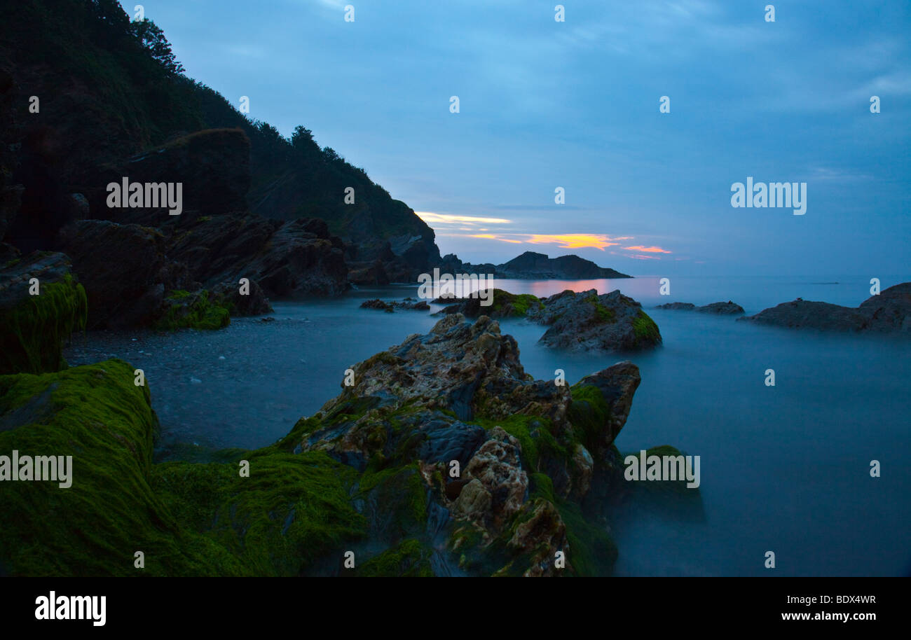Hele Bay landscape photography at tide out on a June summers evening - Stock Image