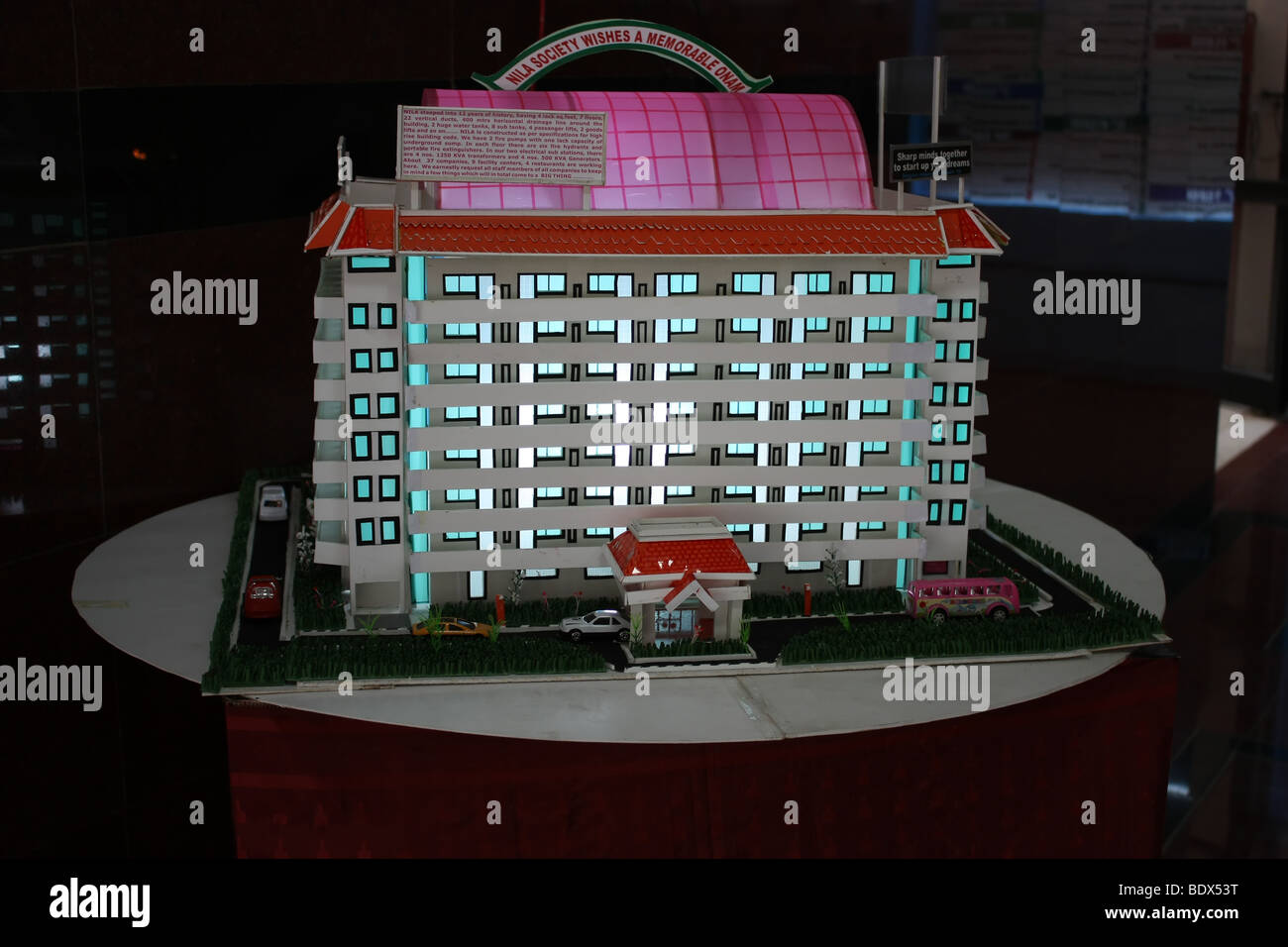 A Model of a building lighted from inside - Stock Image