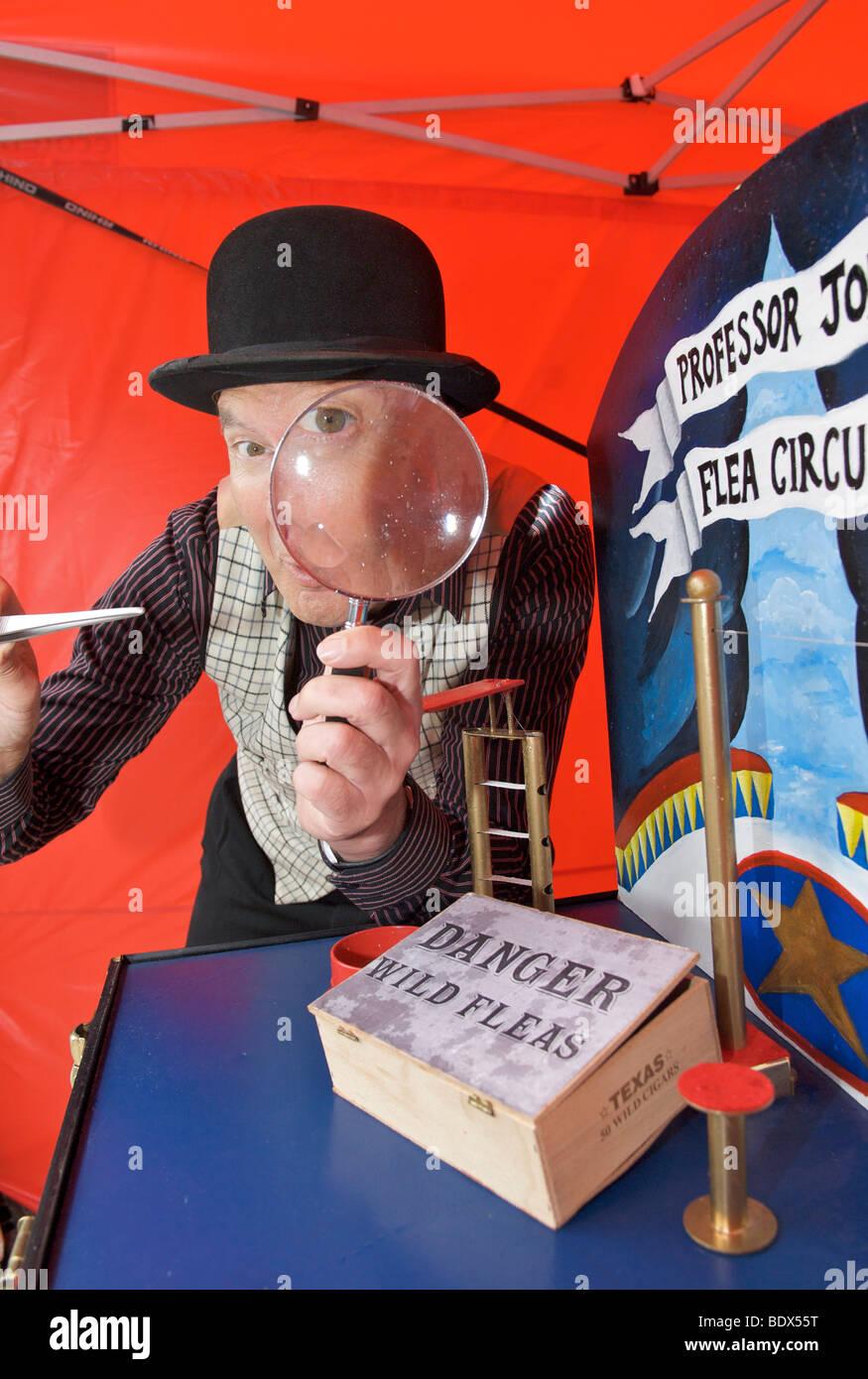 Professor Jon's flea circus - Stock Image