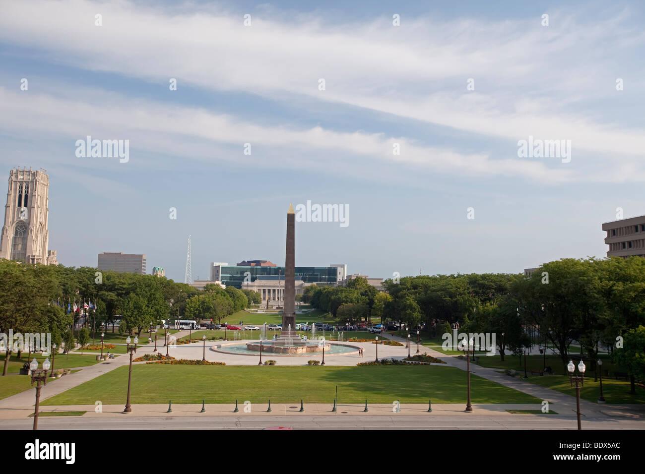 Indianapolis, Indiana - Veterans Memorial Plaza. - Stock Image