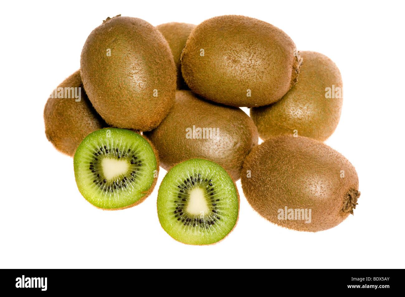 Group of fresh kiwi isolated on white - Stock Image