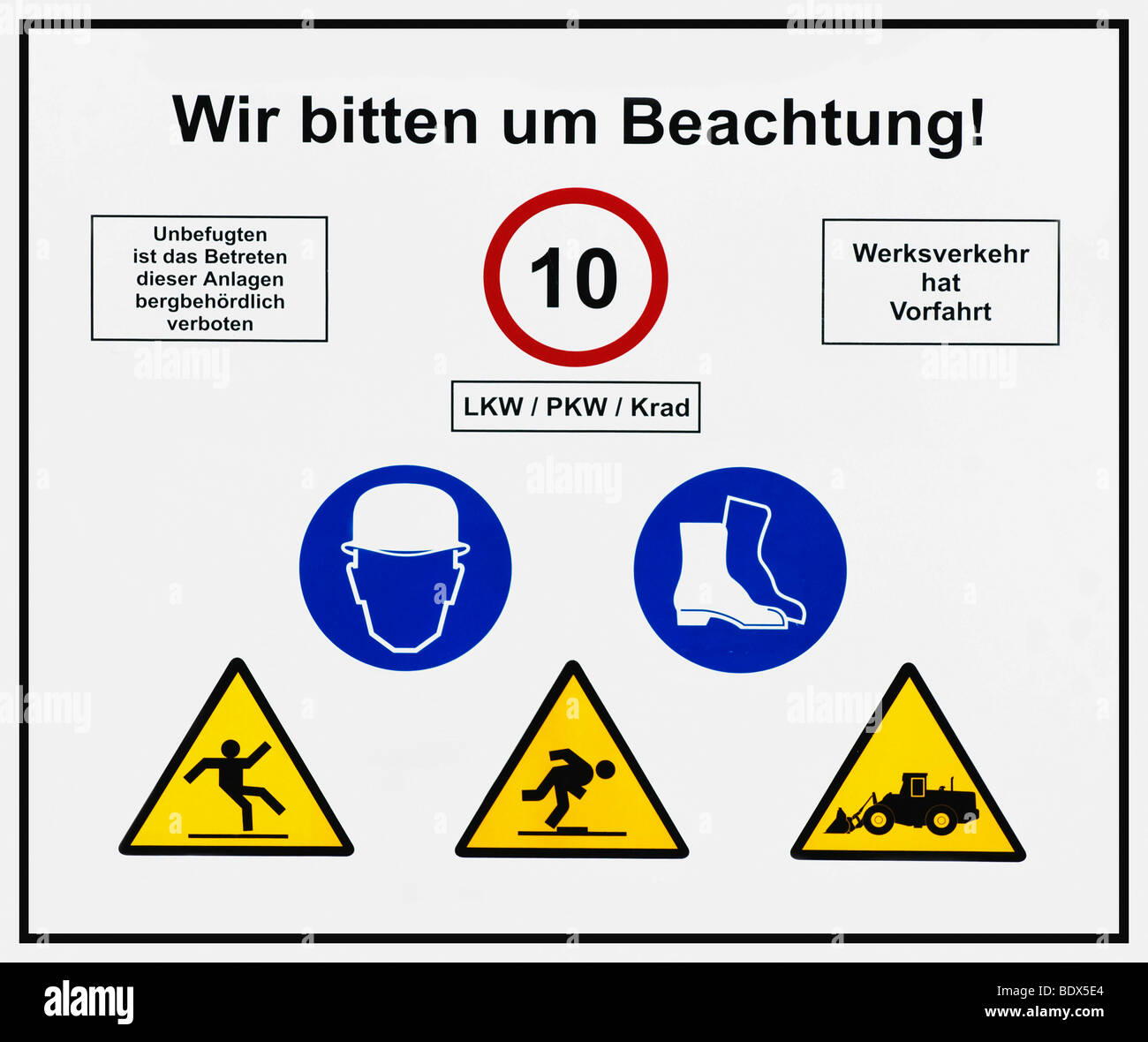 Sign, mining area, We ask for your attention! Trucks, cars, motorcycles 10 km/h, traffic has right of way, no unauthorized Stock Photo