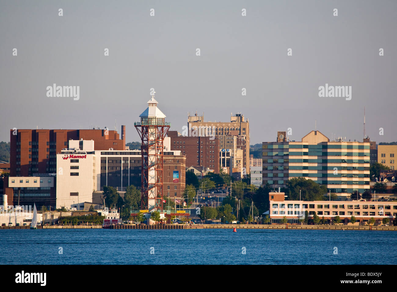 Bicentennial Tower and Dobbins Landing on the waterfront of Erie Pennsylvania, United States - Stock Image