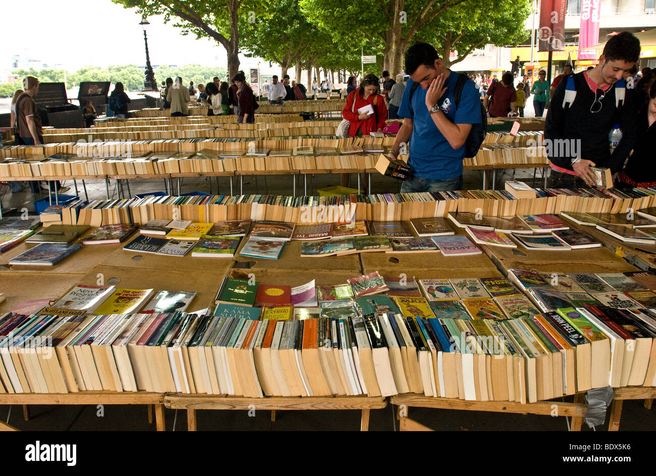 A selection of secondhand books at the open air Southbank Book Market, London - Stock Image