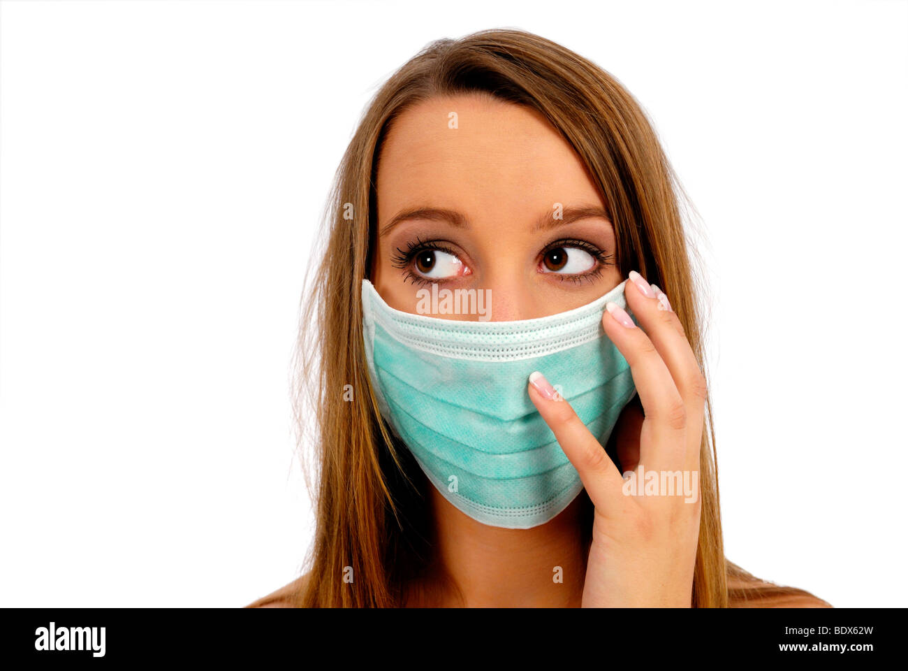 Woman with face mask, swine flu, flu viruses Stock Photo