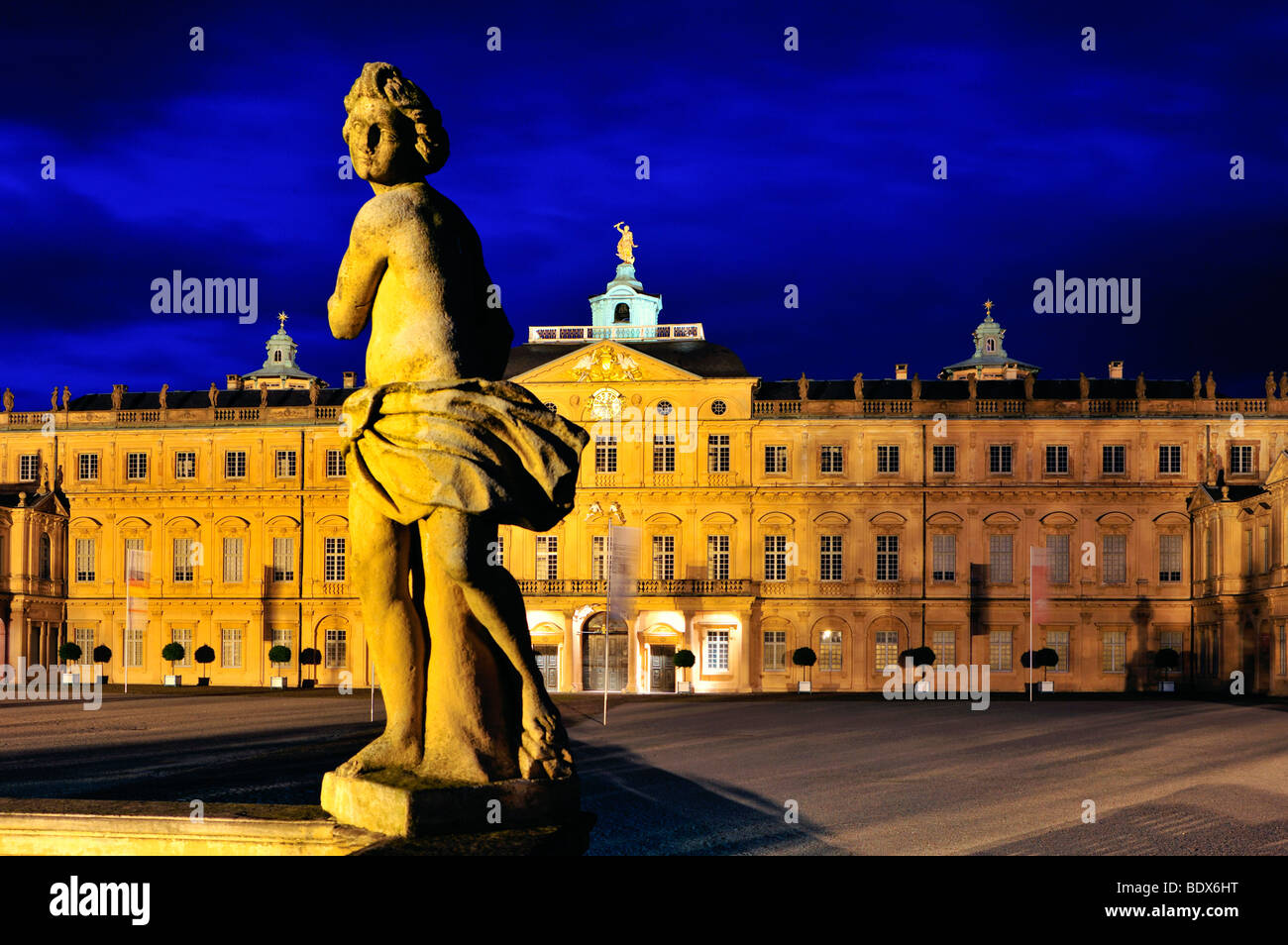 Schloss Rastatt castle seen from the courtyard, Rastatt, Black Forest, Baden-Wuerttemberg, Germany, Europe - Stock Image