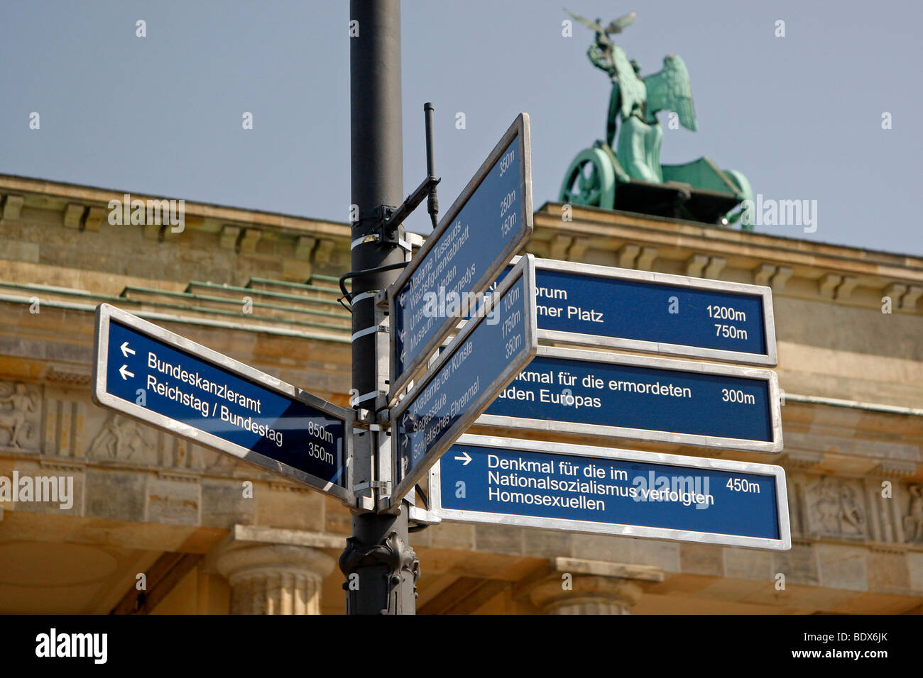 Signs at the Brandenburg Gate, Berlin, Germany, Europe - Stock Image