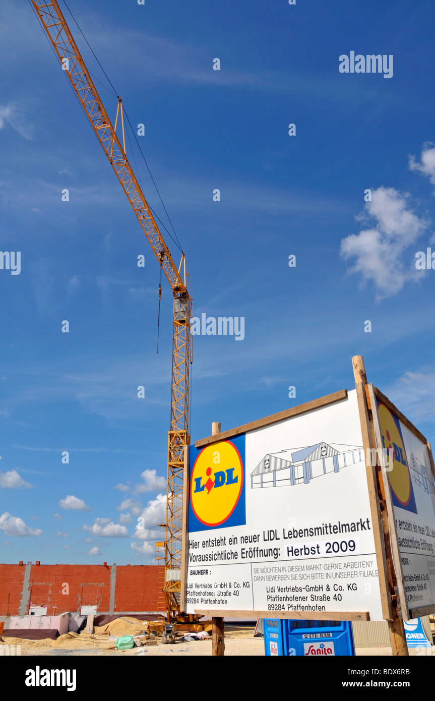 Construction site and announcement of the opening of a Lidl food market, Dornstadt, Baden-Wuerttemberg, Germany, - Stock Image