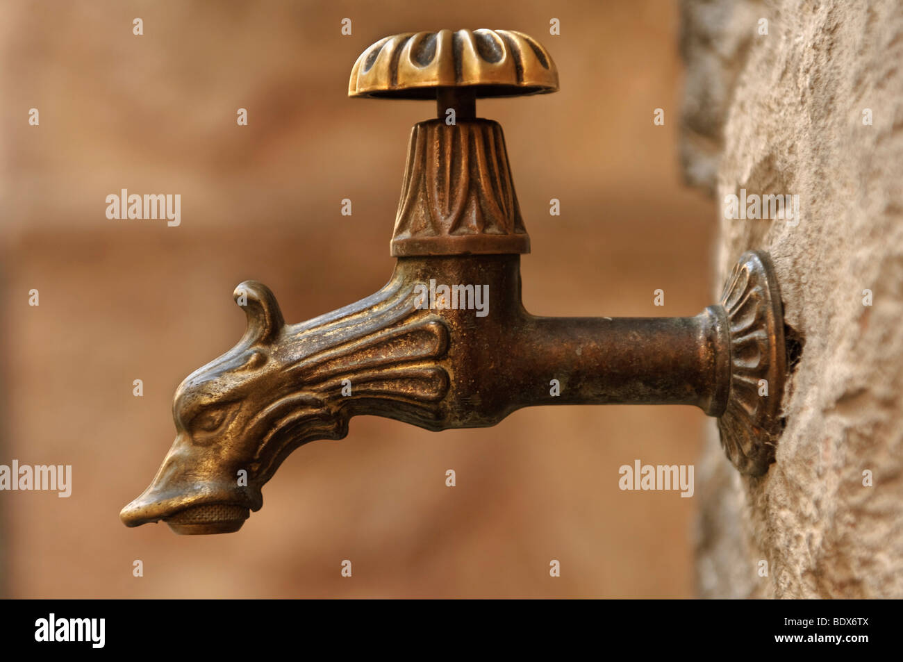 Nostalgic water-tap with a dragon's head - Stock Image