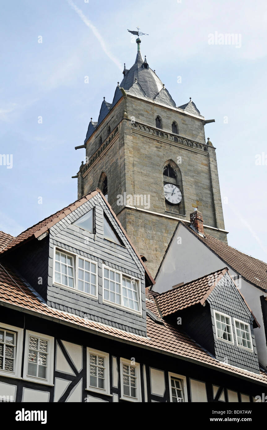 Church tower and roofs of half-timbered buildings, Wolfhagen, Habichtswald National Park, Hesse, Germany, Europe - Stock Image