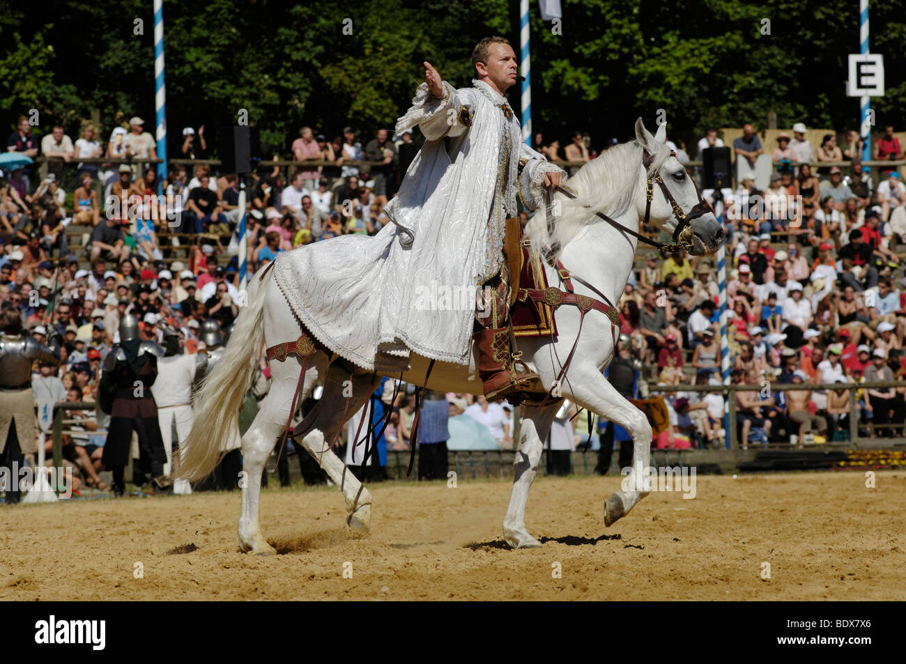 Roman Roell on a white horse, Knights' Tournament in Kaltenberg, Upper Bavaria, Bavaria, Germany, Europe - Stock Image