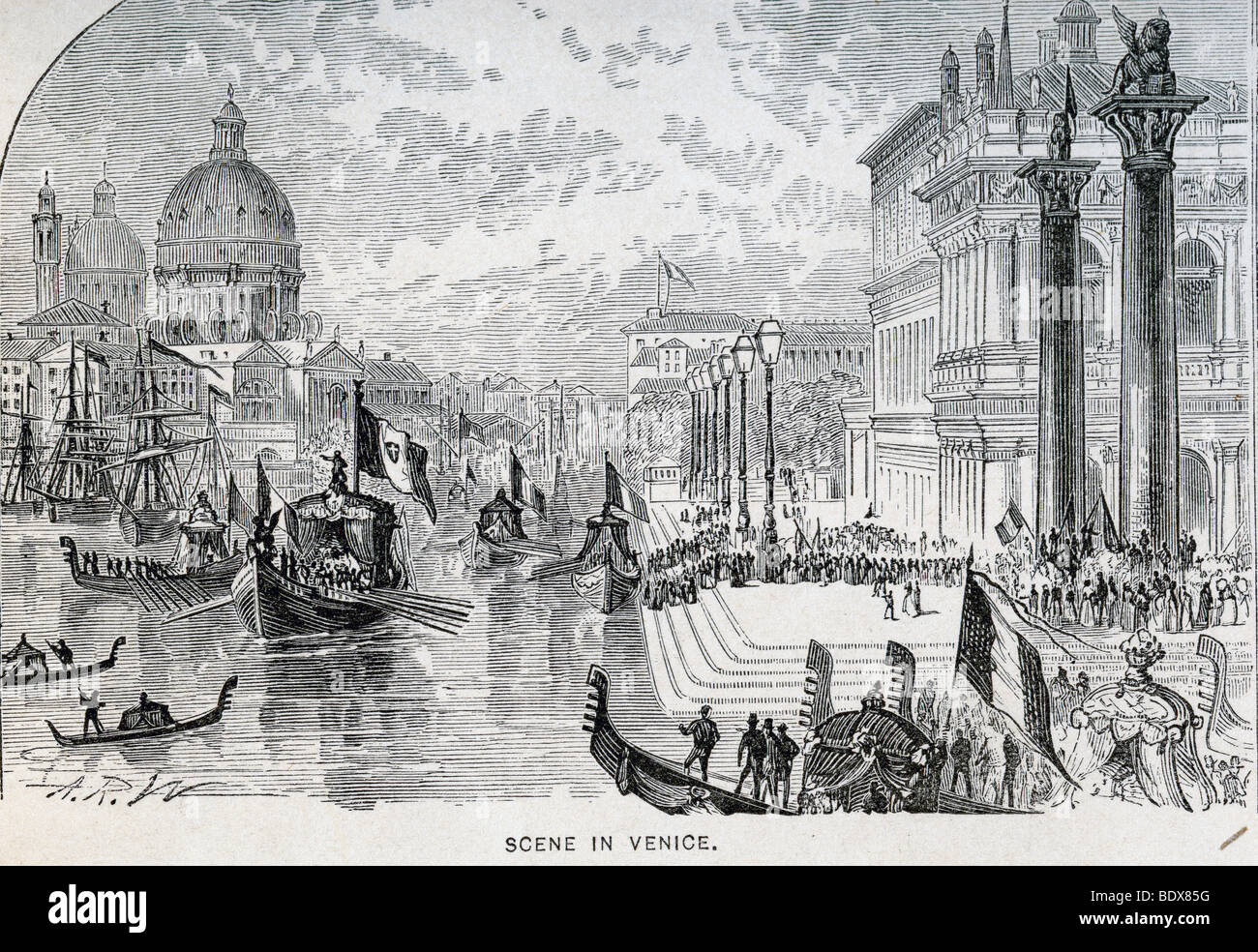 100 year old lithograph - Scene in Venice - Stock Image