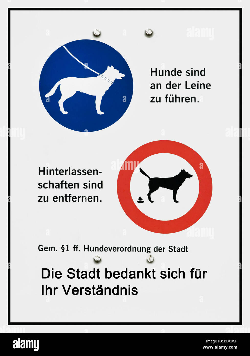 German sign with symbols, put dogs on a leash, remove dog dirt according to ss 1ff Dog Ordinance of the City, the - Stock Image