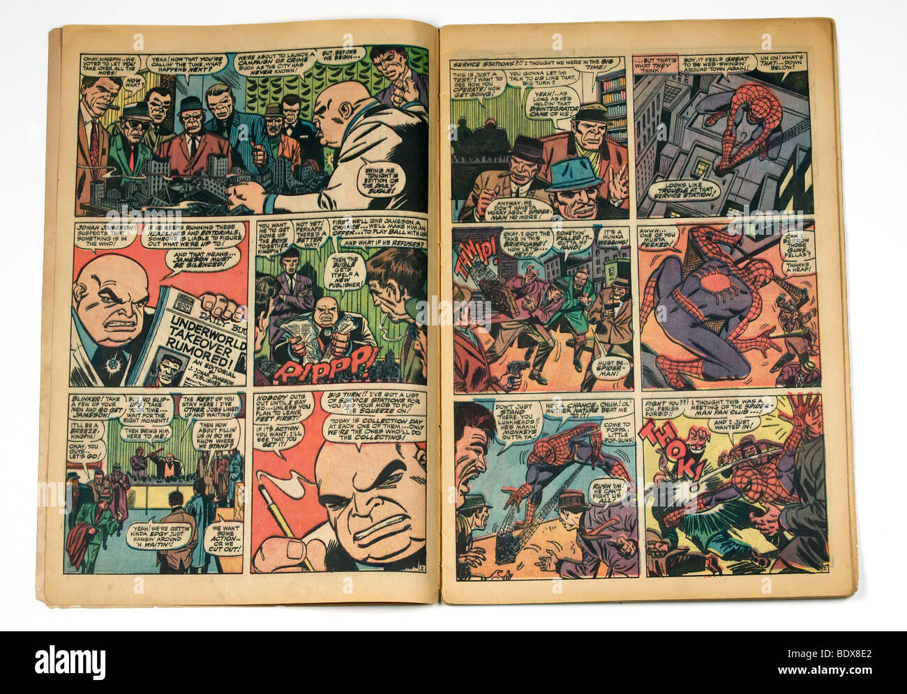 The inside pages of a spider-man comic book - Stock Image