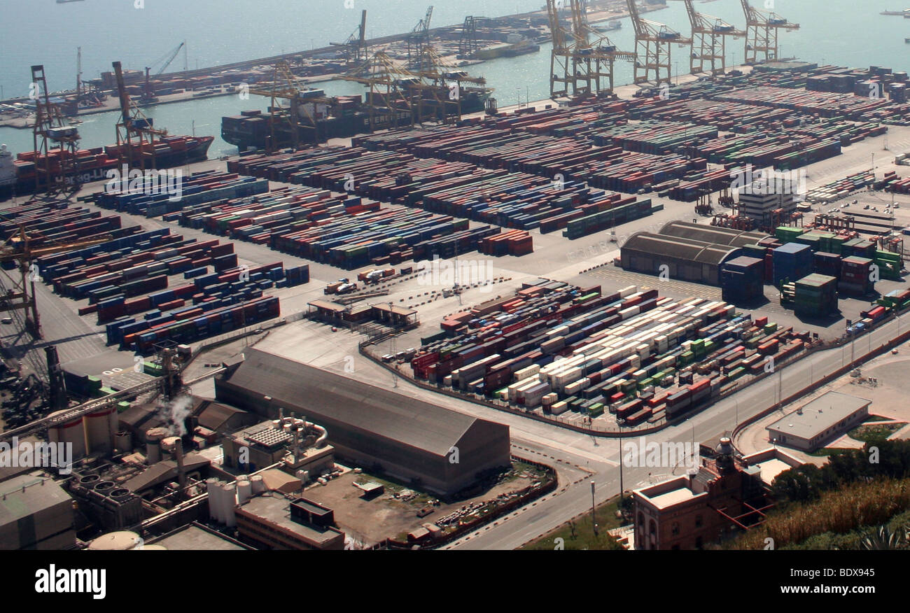 Ariel View of the Port of Barcelona Stock Photo