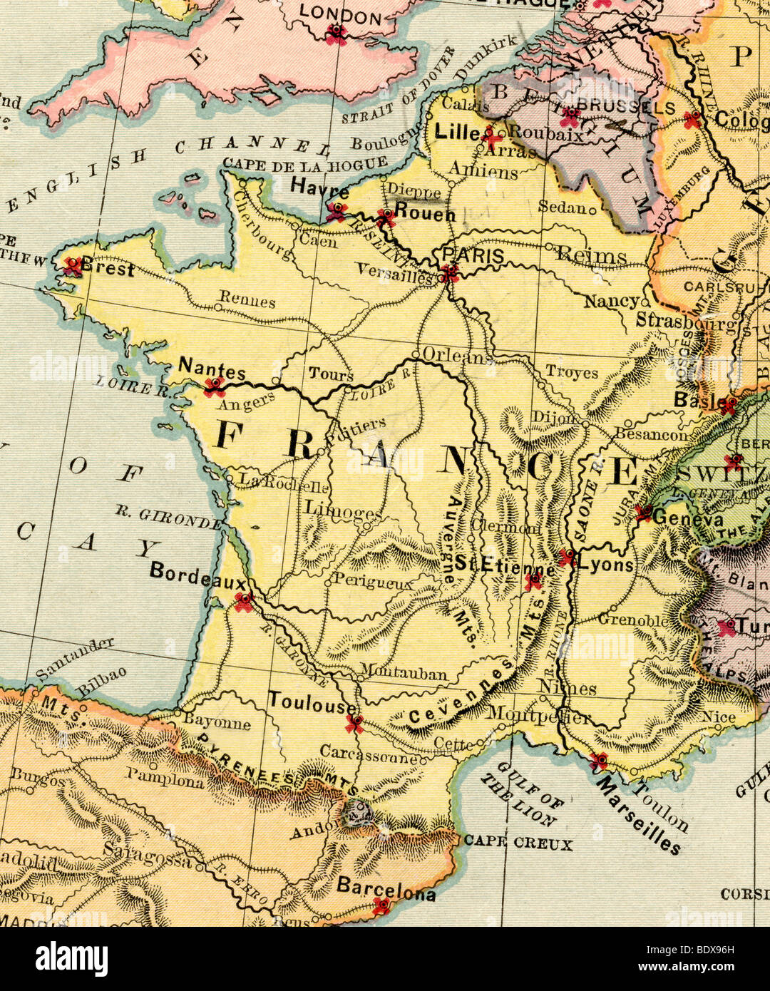 Old Map Of France.Original Old Map Of France From 1875 Geography Textbook Stock Photo