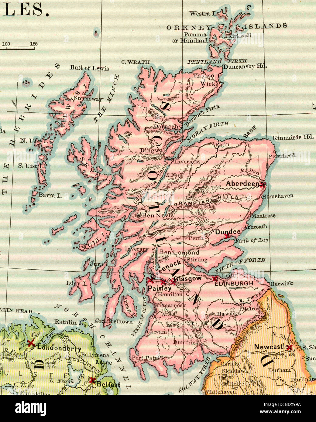 Original old map of Scotland from 1875 geography textbook Stock