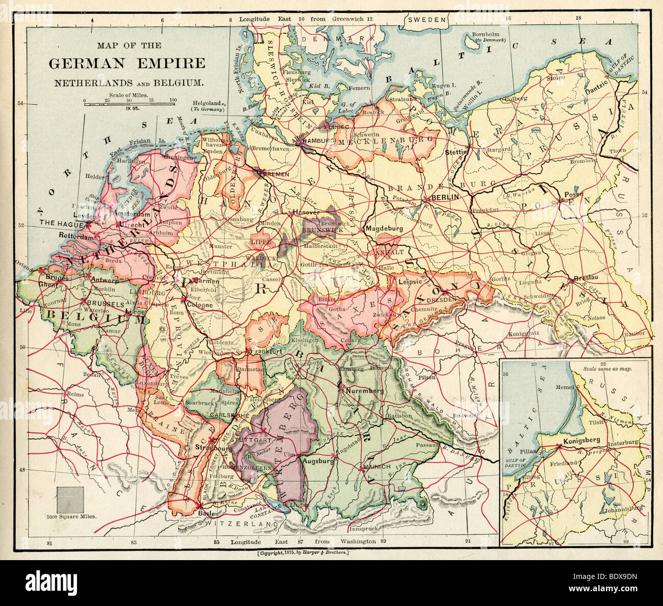 Map Of Old Germany.Original Old Map Of Germany From 1875 Geography Textbook Stock Photo