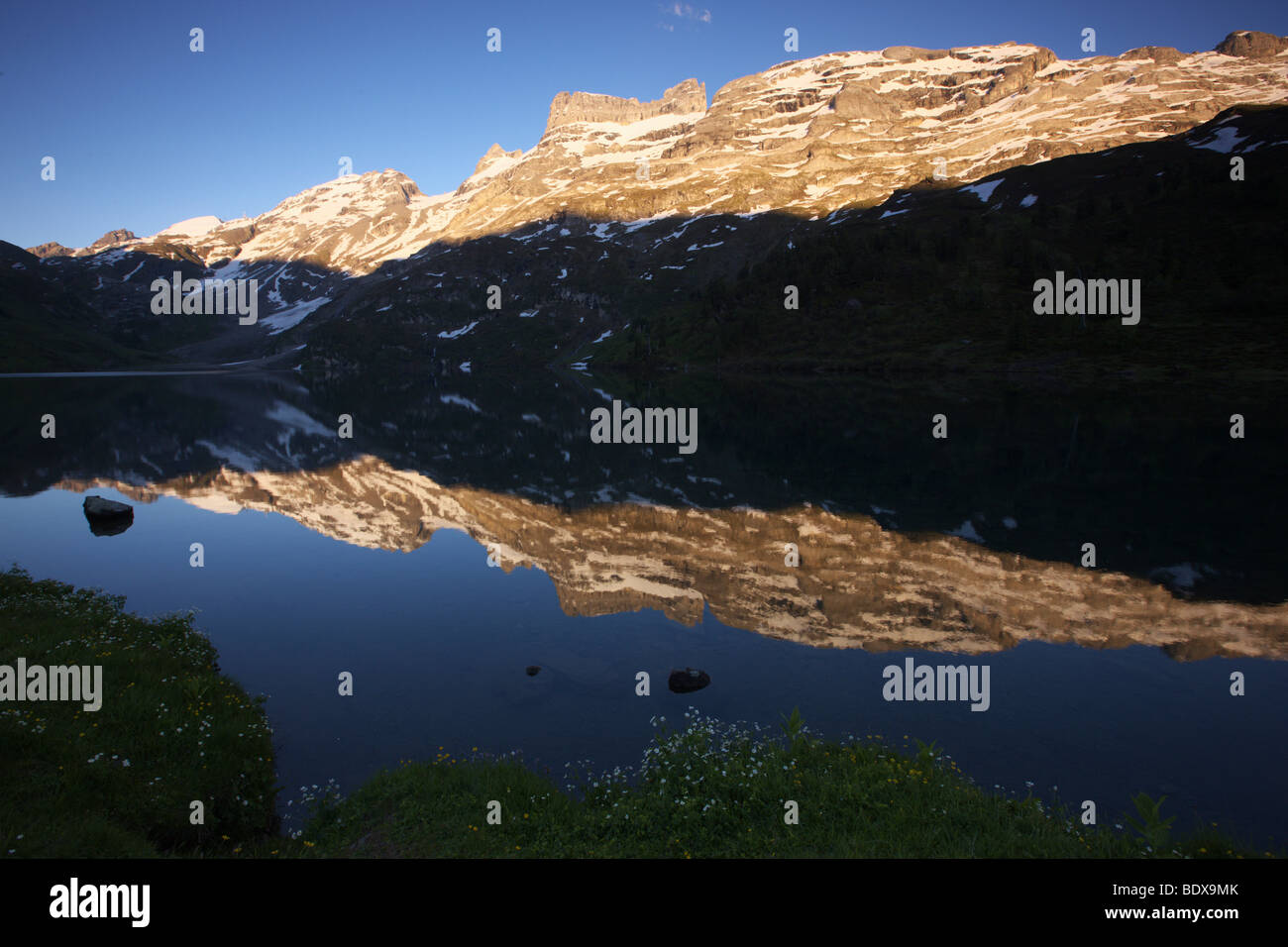 Reflection in a mountain lake in the Bernese Oberland, Switzerland, Europe Stock Photo