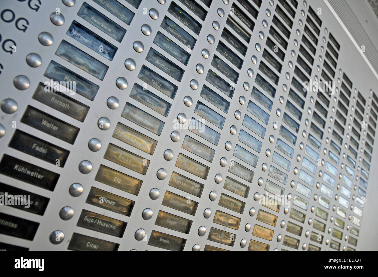 Doorbell panel of a high-rise apartment building, satellite town of Chorweiler in Cologne, North Rhine-Westphalia, - Stock Image