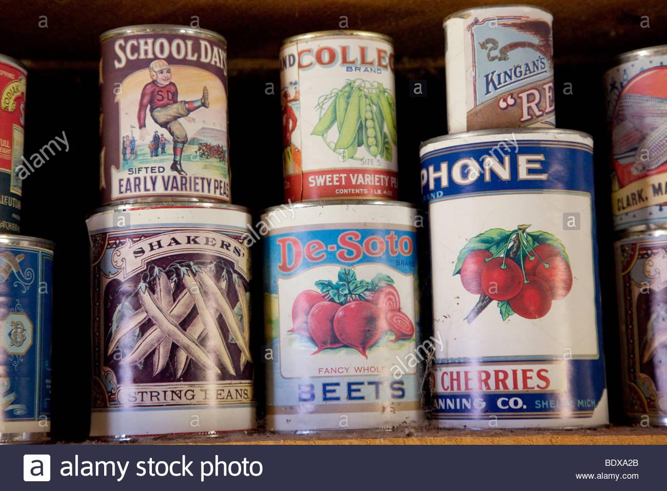 Old; canned; goods;John; Jarvie; Historic; Site: Browns; Park; Utah; - Stock Image
