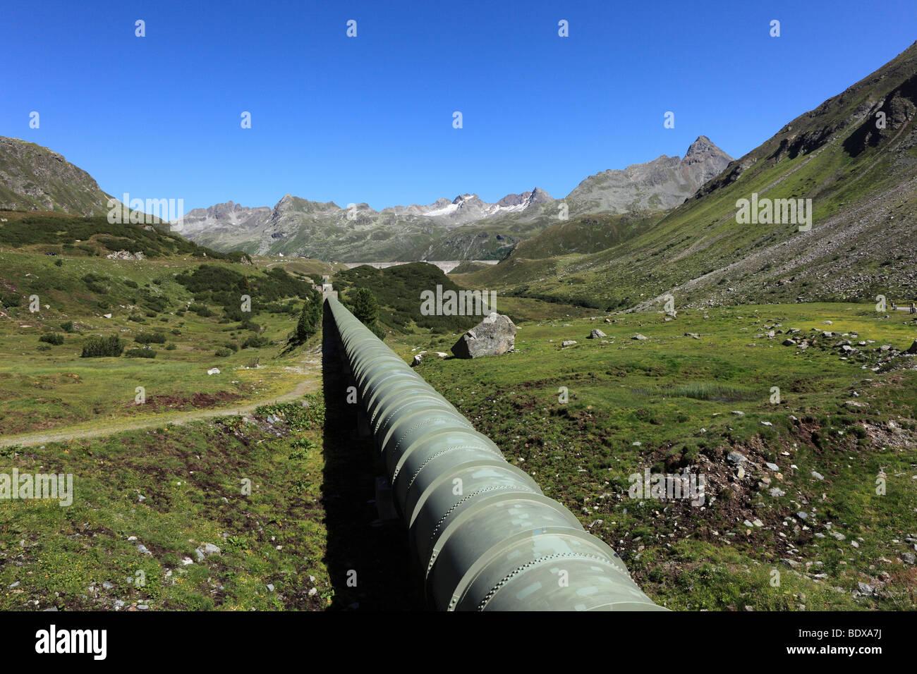 Dam and water pipeline from Lake Silvretta, Bielerhoehe, Grossvermunt, Montafon, Silvretta Group, Vorarlberg, Austria, - Stock Image