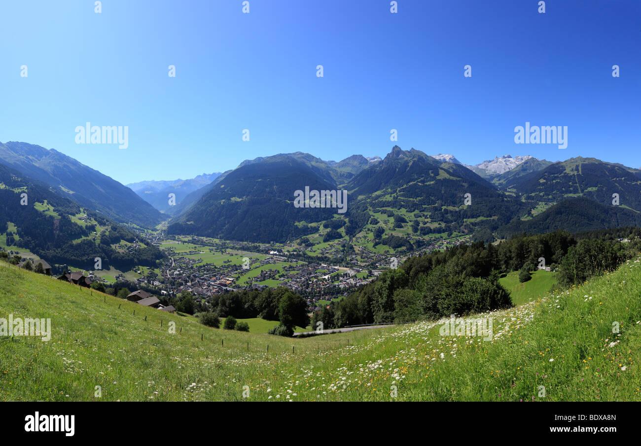 View from Batholomaeberg over Schruns, at the rear Raetikon, Montafon, Vorarlberg, Austria, Europe - Stock Image