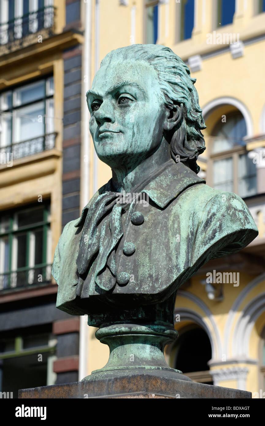 Johan Herman Wessel, 1742-1785, poet, memorial, Karl Johans gade, Oslo, Norway, Scandinavia, Europe - Stock Image