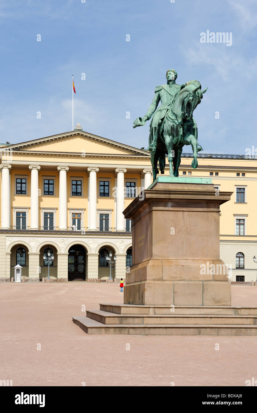 Sculpture Charles XIV John, King of Sweden, Karl III Johan, King of Norway, 1763-1844, in front of the Royal Palace, - Stock Image