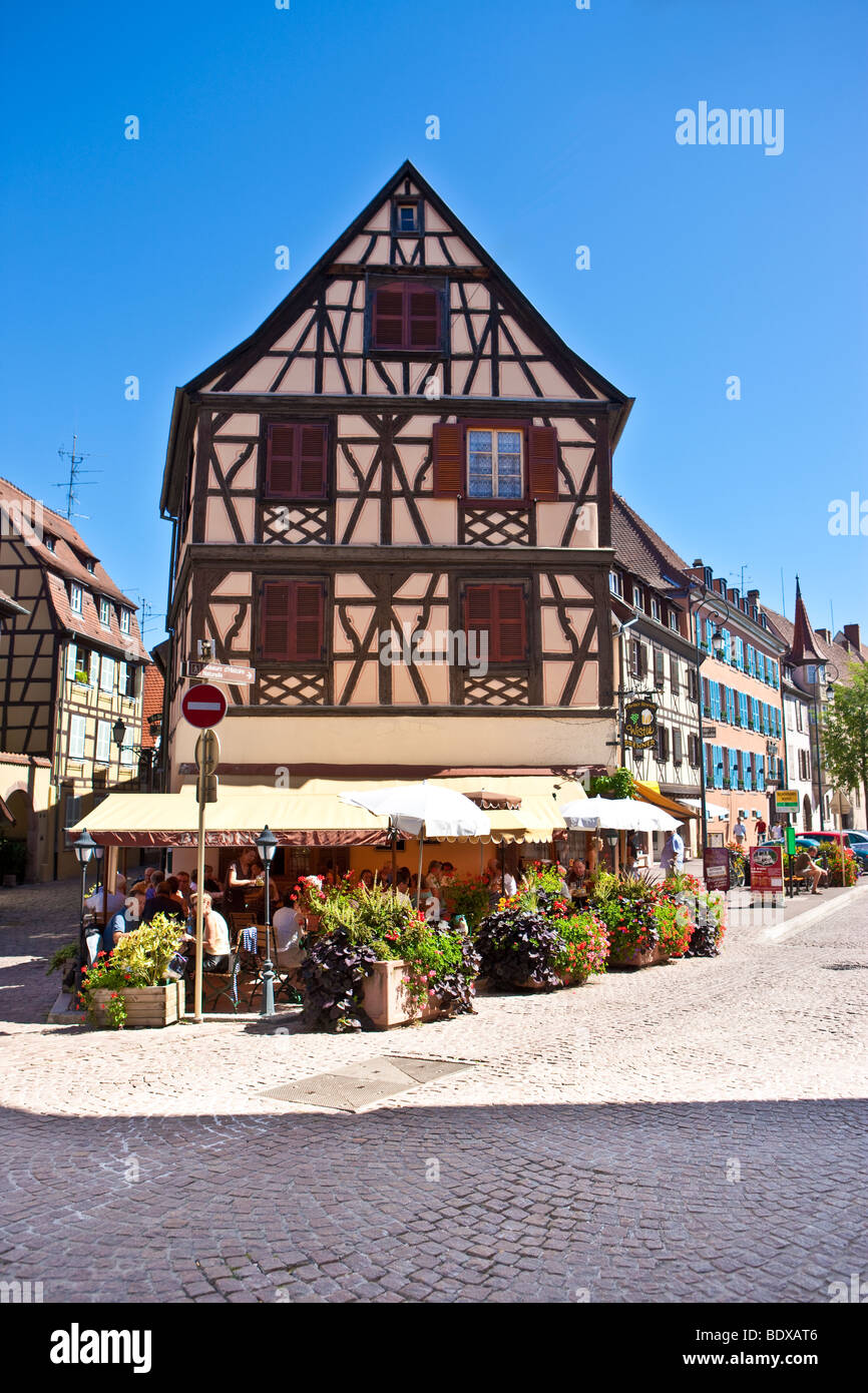 Restaurants in the historic town centre of Colmar, Colmar, Alsace, France, Europe - Stock Image