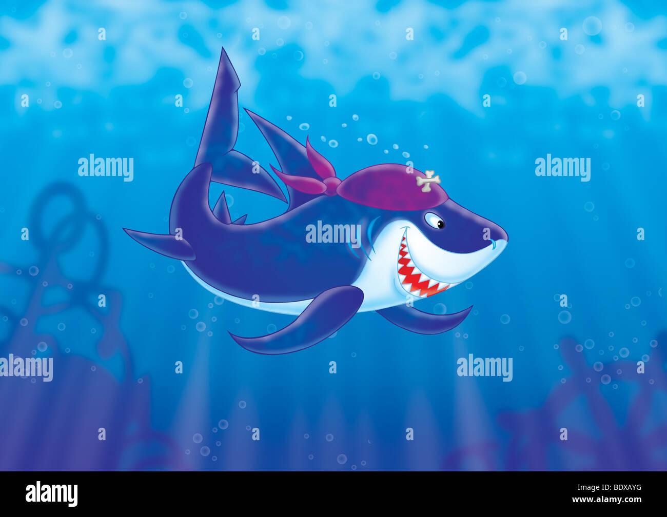 Shark Pirate - Stock Image