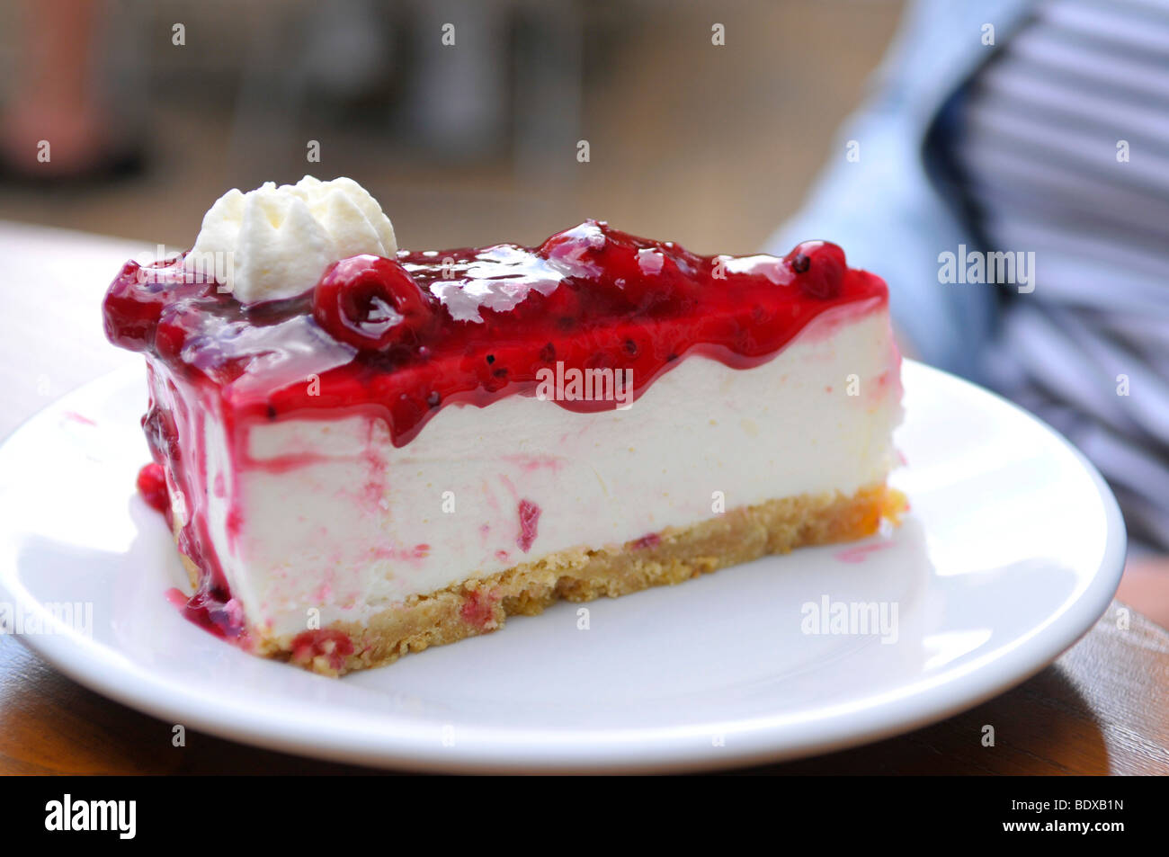 Piece of cake in the Cafe Krog, film location for the ZDF-series 'Der Landarzt' 'The Country Doctor', - Stock Image