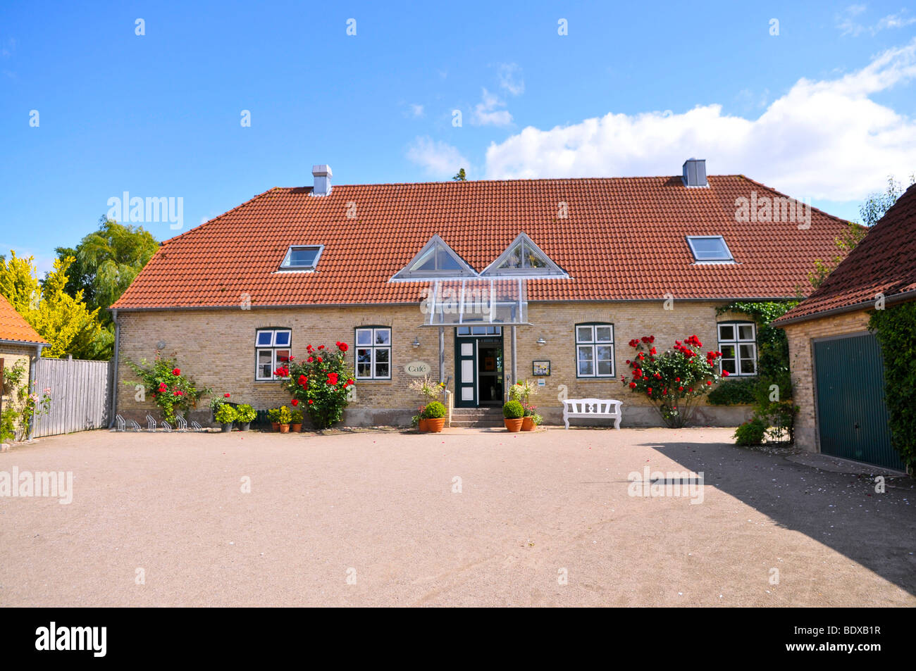 Cafe Krog, film location for the ZDF-series 'Der Landarzt' 'The Country Doctor', Ulsnis, Schlei, - Stock Image