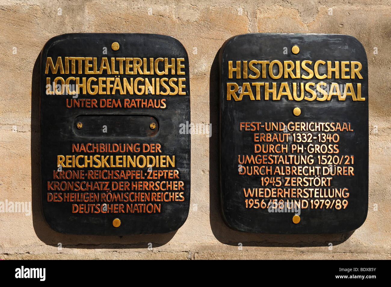 Two sign boards for tourist attractions at the town hall, Nuremberg, Middle Franconia, Germany, Europe - Stock Image