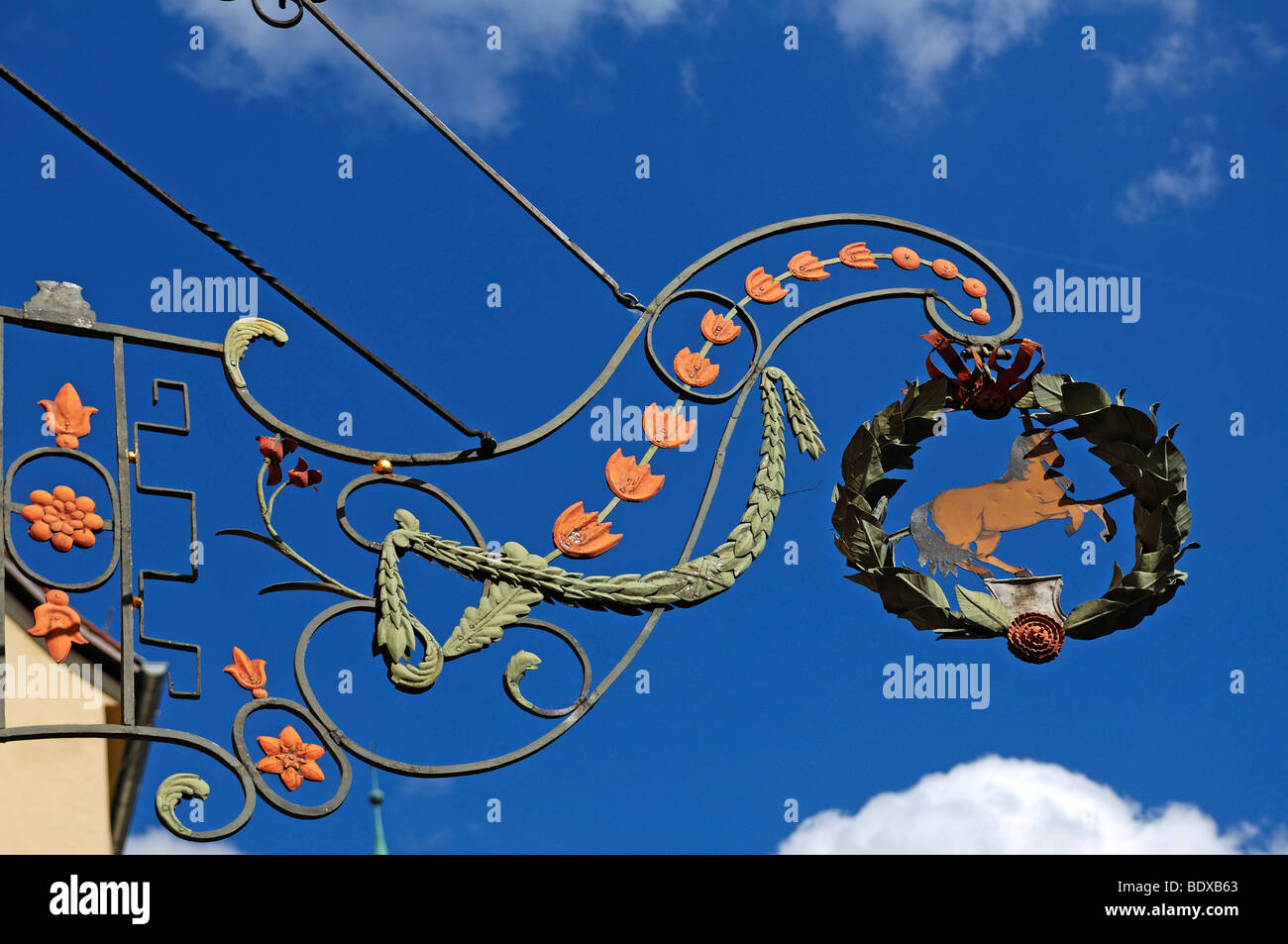 Old inn hanging sign 'Rotes Ross' red horse, 1650, Nuremberg, Middle Franconia, Bavaria, Germany, Europe - Stock Image