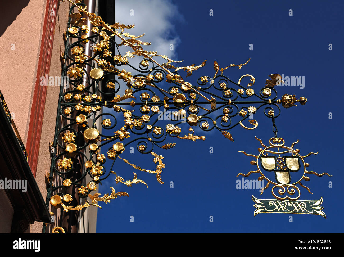 Ornate hanging sign of a craft business, Nuremberg, Middle Franconia, Bavaria, Germany, Europe - Stock Image