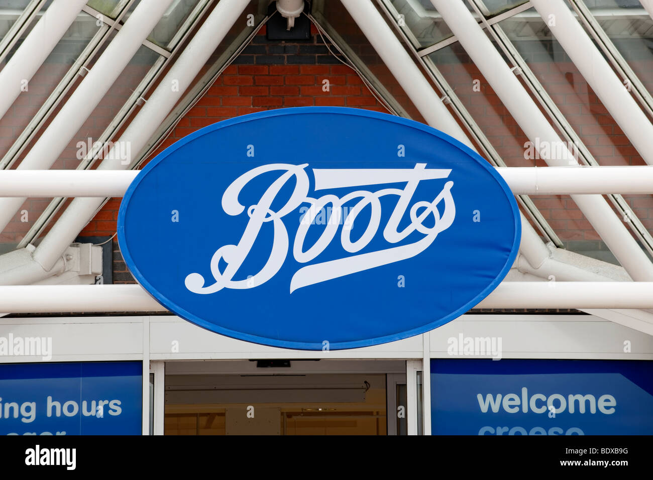 The sign over a branch of Boots The Chemist Stock Photo