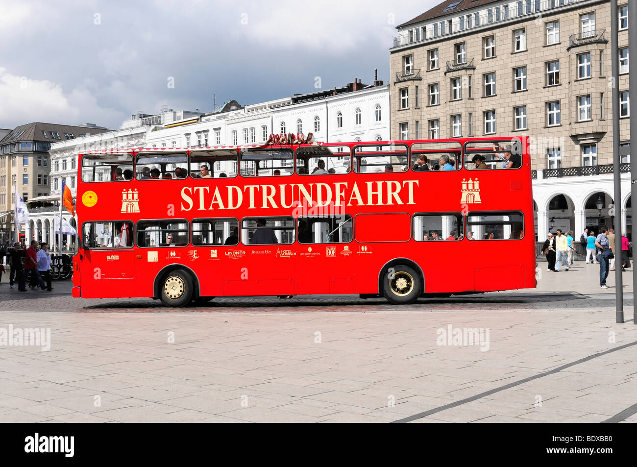 Bus, sightseeing tour, Hanseatic City of Hamburg, Germany, Europe - Stock Image