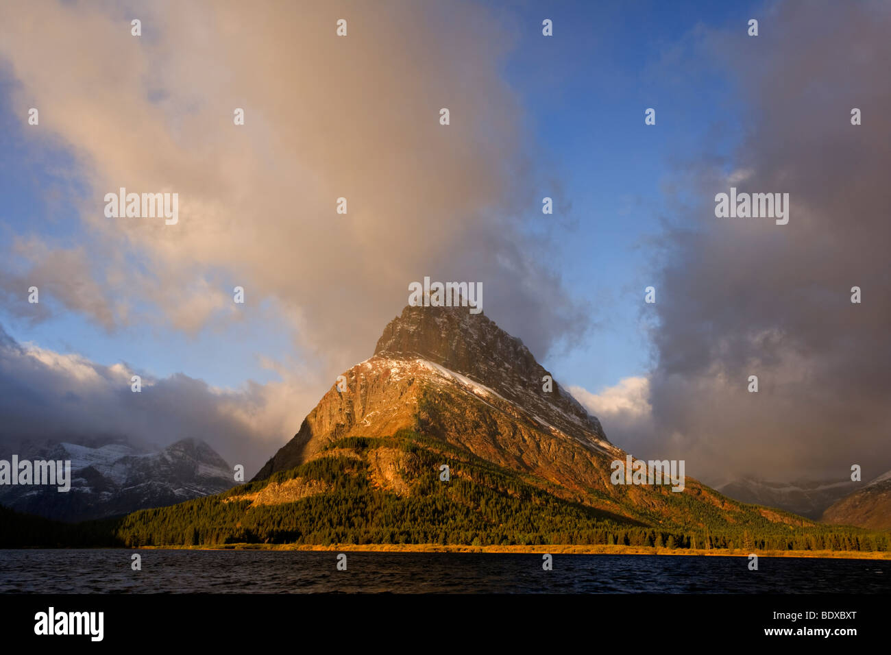 Swiftcurrent lake rainbow, Glacier National Park Stock Photo