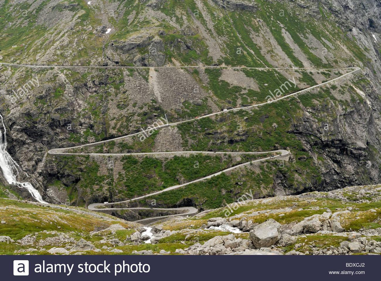 Mountain pass Trollstigen in Andalsnes, More og Romsdal, Norway, Scandinavia, Europe - Stock Image