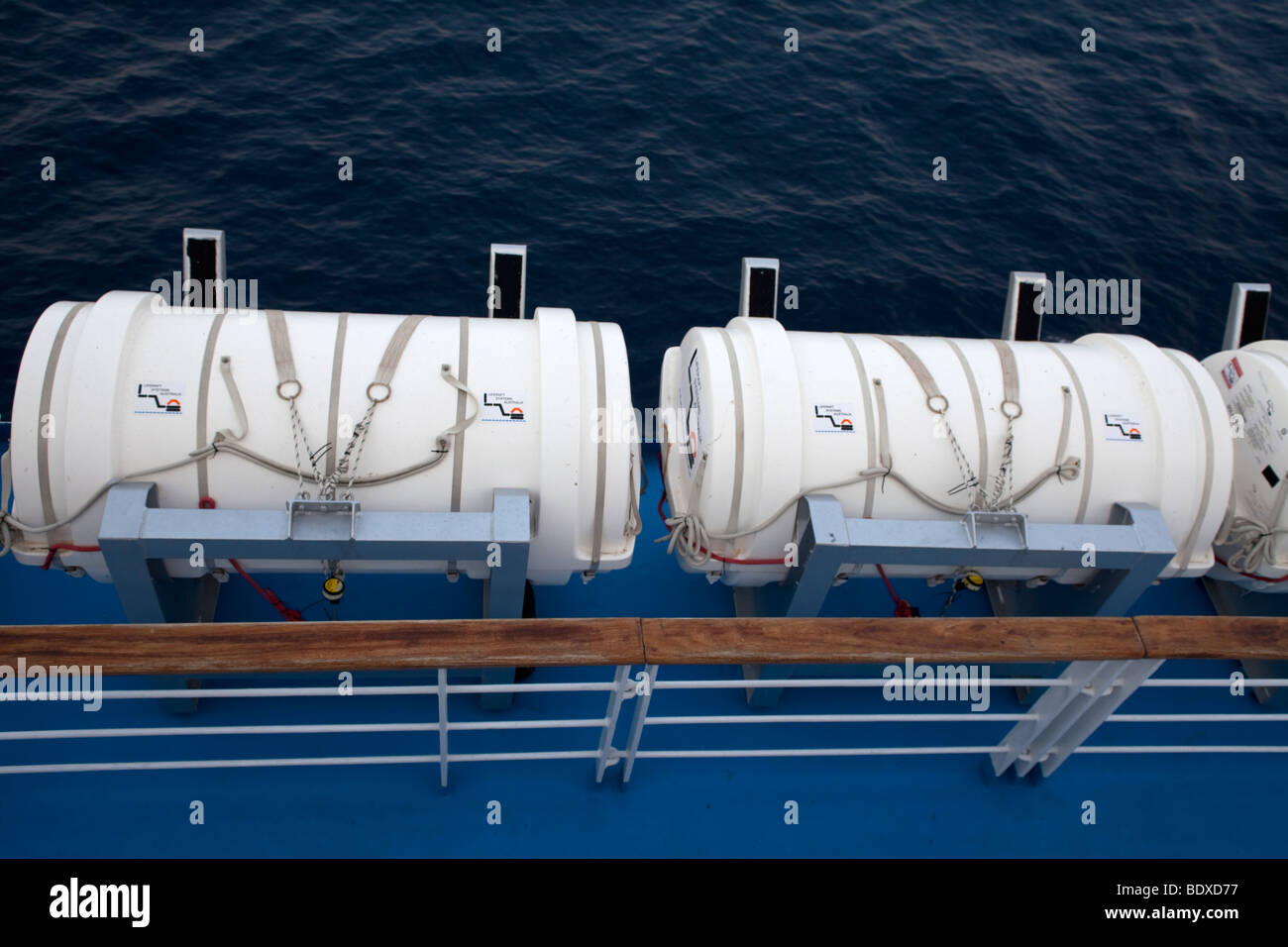 lifeboats on a ferryboat,Greece - Stock Image