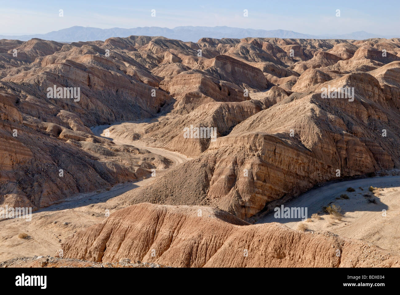 Rocky landscape with canyon and river bed, Anza Borrego Desert at the S 22, Borrego Springs, Southern California, - Stock Image