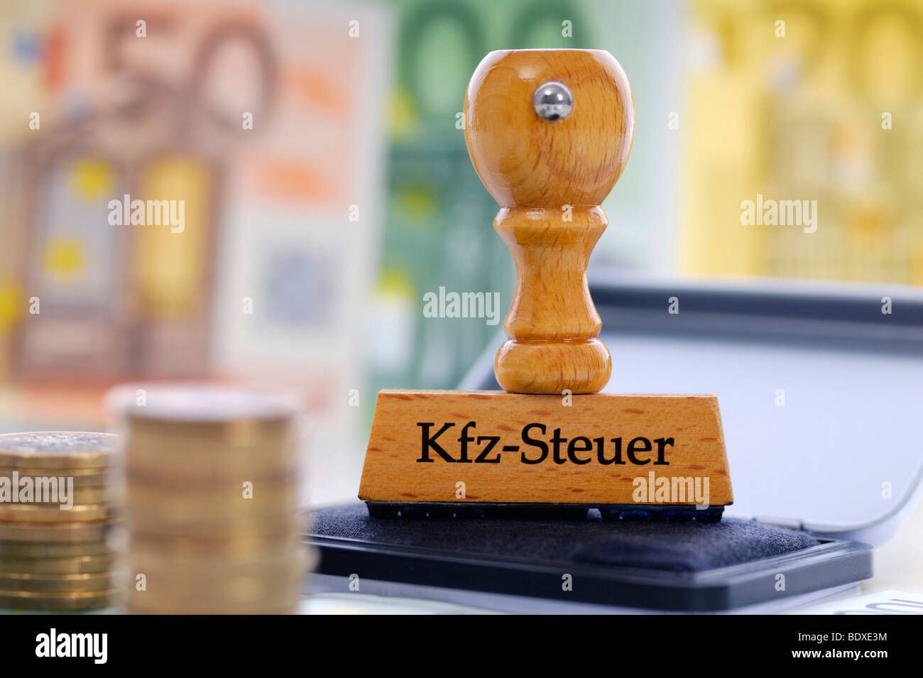 Stamp labelled 'Kfz-Steuer', German for 'car tax' - Stock Image