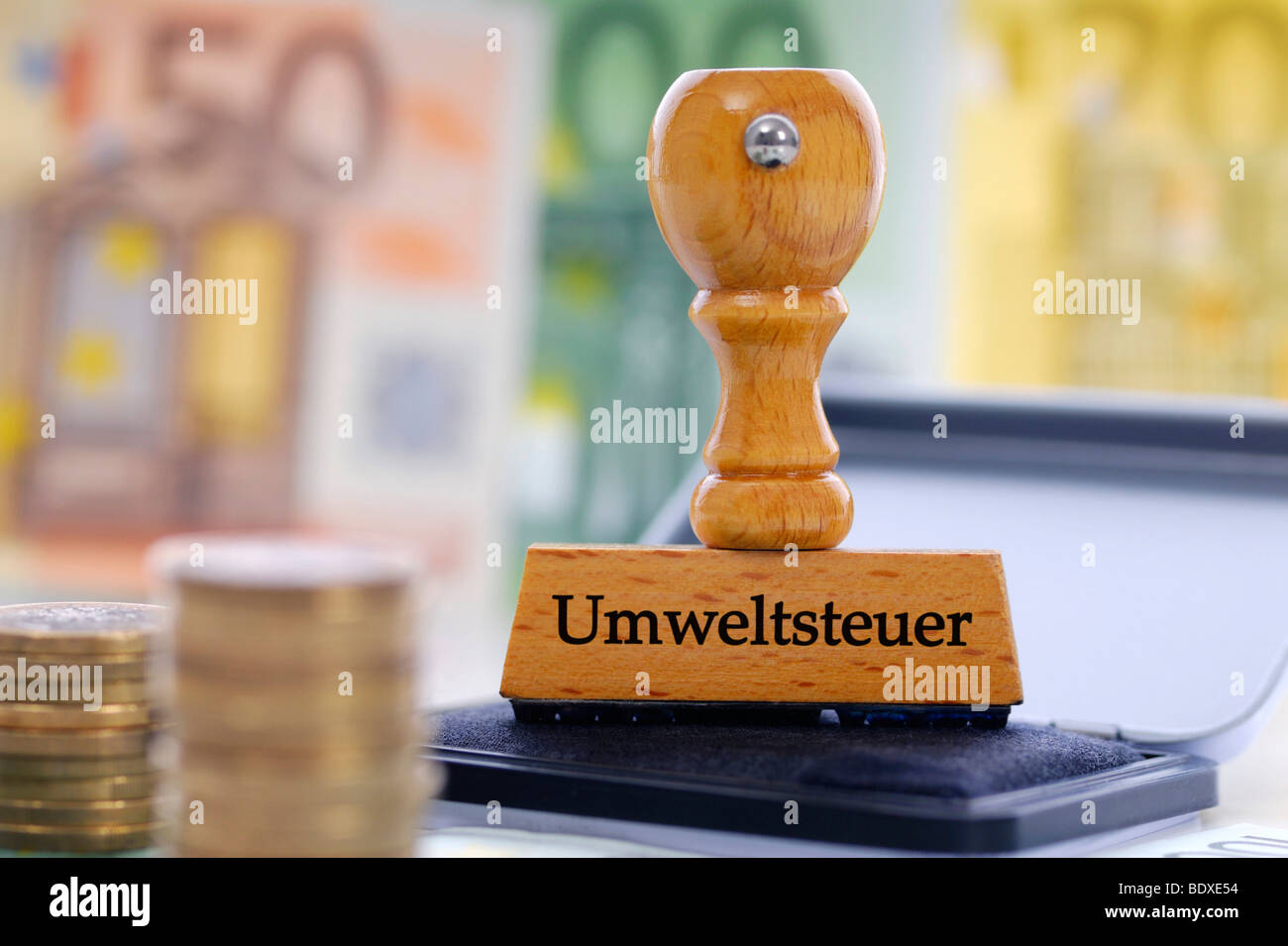 Stamp labelled 'Umweltsteuer', German for 'ecotax' - Stock Image