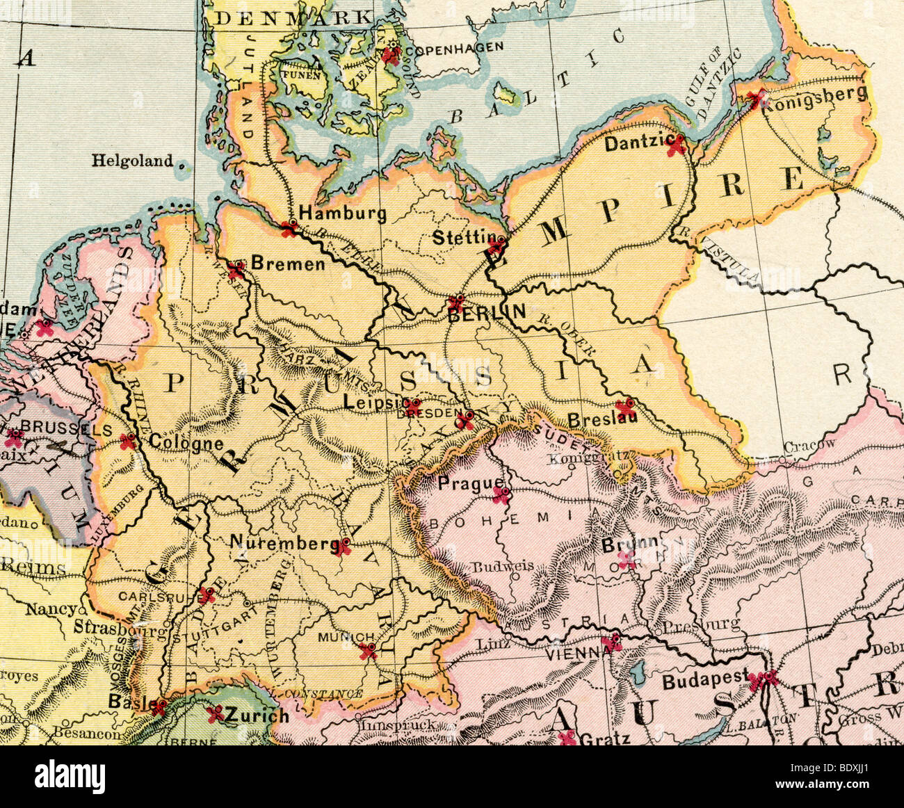 Original old map of Germany from 1875 geography textbook Stock