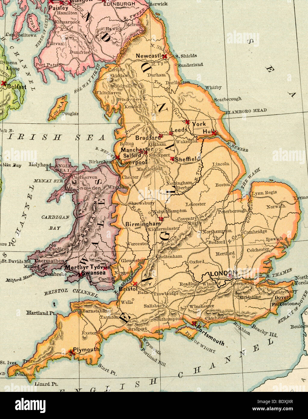 Original old map of England and Wales from 1875 geography textbook