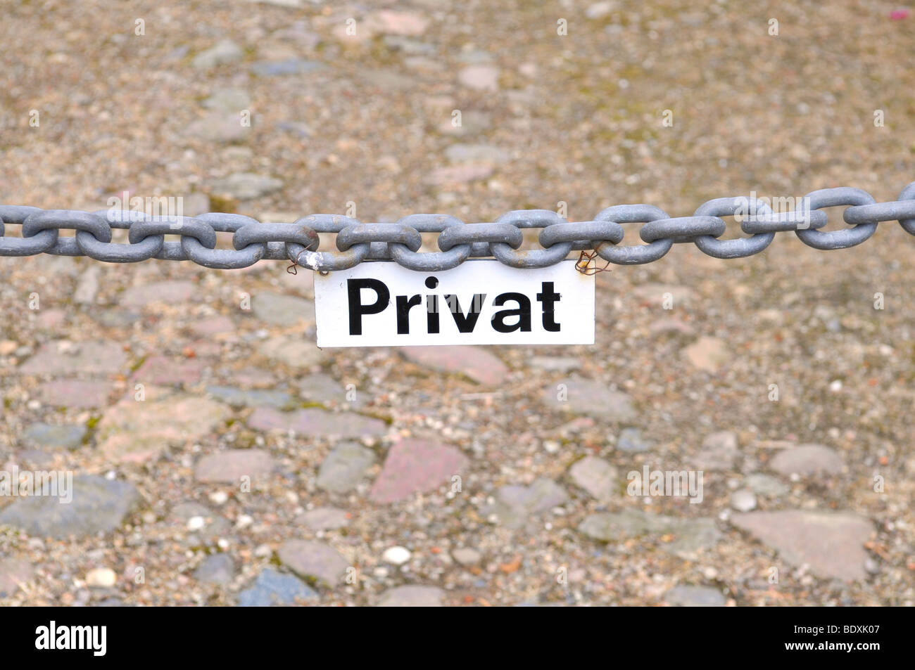 Cordon with 'private' sign - Stock Image
