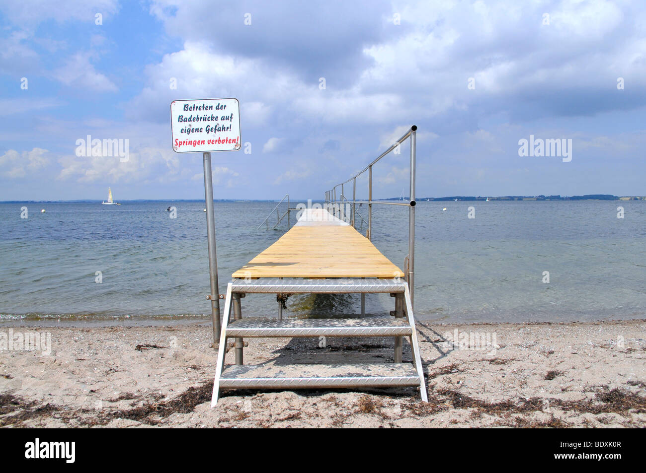 Bathing pier on the beach of Langballigau, Baltic Sea, Schleswig-Holstein, northern Germany, Germany, Europe - Stock Image