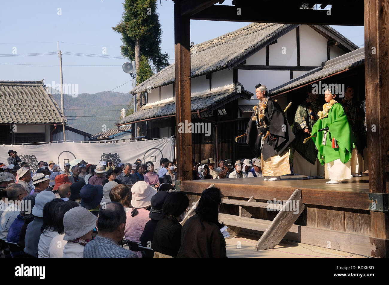 No play, famous traditional dance theater in a Shinto shrine in Sasayama, Japan, Asia Stock Photo